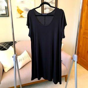 French Atmosphere Black Knit T-Shirt Dress Size 2X